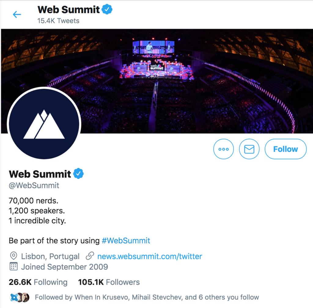 Screenshot of web summit twitter profile